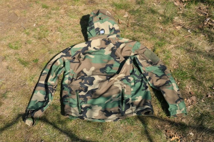 Bunda PENTAGON Artaxes Level V, softshell - woodland zadná strana