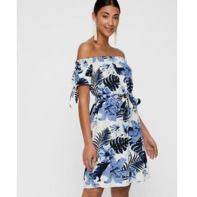 Bielomodré letné šaty