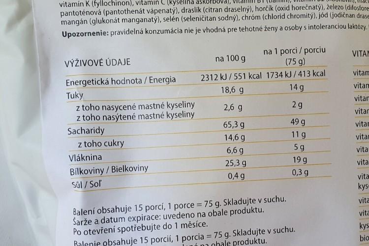 DailyMix kokteil výživové údaje