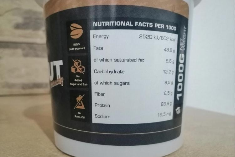 Arašidové maslo GymBeam výživové údaje