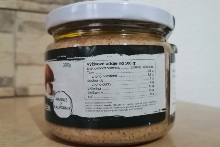 Supernuts mandľový krém výživové údaje